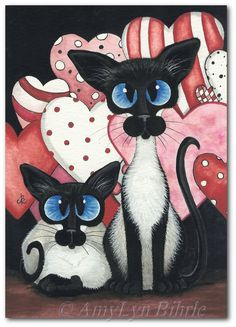 Siamese Cat Valentine Hearts Love Art Prints & by AmyLynBihrle
