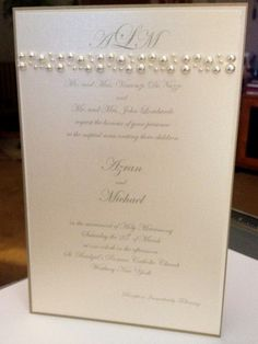 Sample Pearl Accented Wedding Invite Invitation by BrinkOfLove, $10.00