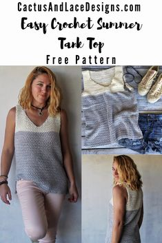 This lightweight summer top is made with simple stitches and works up in a flash! Crochet Tank Tops, Crochet T Shirts, Crochet Summer Tops, Crochet Womens Tops, Crochet Sweaters, Crochet Stitch, Easy Crochet, Knit Crochet, Beginner Crochet