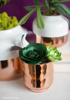 Metallic Paper Succulents DIY