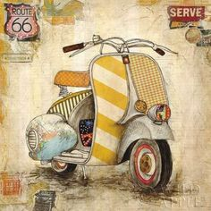Jennifer-Wagner-Galavanting-Around-I-Keilrahmen-Bild-Leinwand-Vespa-Motorroller - All together (decoupage, prints, vintage) - Auto Decoupage Vintage, Decoupage Paper, Vintage Diy, Vintage Vespa, Vintage Pictures, Vintage Images, Painting Frames, Painting Prints, Art Print