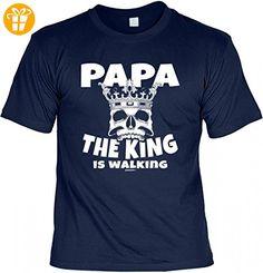 T-Shirt Vater - Papa the king is walking - Geschenk Idee mit Humor zum Vatertag oder Geburtstag - navyblau, Größe:M (*Partner-Link)