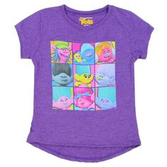 Trolls 9 Panel Heather Grey Cast Of Characters Girls Short Sleeve T Shirt Free Shipping #HTownKids