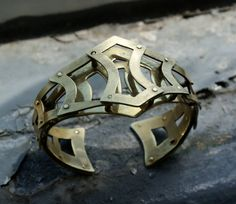 Brass Armor Riveted Cuff by Jenna Pierson
