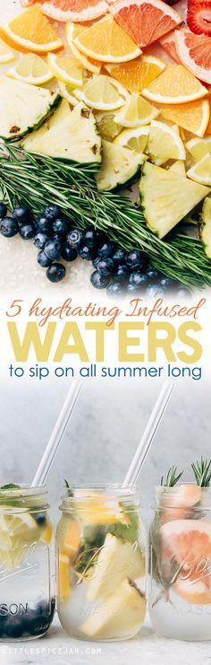 5 Infused Waters to Sip on This Summer - 5 recipes for infused water that you can enjoy all summer long! A great alternative to carbonated beverages and it's prettier to look at too! #infusedwater #water #infusedwaterrecipe | Littlespicejar.com