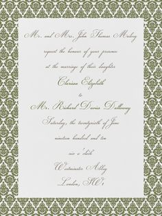 """Brocade - Ivory with Olive (Tall)"" Invitation, Paperless Post"