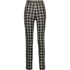 Haider Ackermann - Plaid Woven Silk Tapered Pants ($910) ❤ liked on Polyvore featuring pants, bottoms, trousers, black, plaid pants, tailored trousers, taper cut pants, drapey pants and tapered trousers