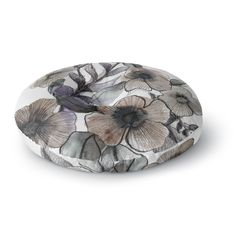 East Urban Home Sonal Nathwani 'Gray Bouquet' Illustration Round Floor Pillow Size: 2 Round Floor Pillow, Floor Pillows, Beige, Gray, Color Pop, Decorative Bowls, Bouquet, Flooring, Illustration