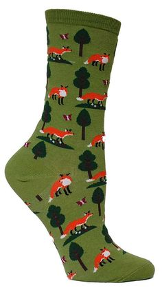 Don't let us box you in with these fun fox socks, instead tell everyone their red locks rocks. Turn back the clocks, silence your friend who talks and talks, and watch as your favorite fella flocks to