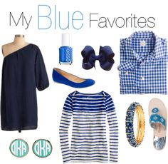 """""""My Blue Favorites!"""" by classically-preppy ❤ liked on Polyvore"""