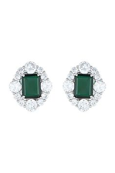 Featuring a pair of white rhodium plated earrings studded with faux emerald and diamonds, set in mixed metal. CARE: Store them in moisture free areas and keep them away from water and liquid fragrances. Diamond Earrings Indian, Emerald Diamond, Celebrity Closets, Pernia Pop Up Shop, Designer Earrings, Rose Gold Plates, Gold Jewelry, Plating, Stud Earrings