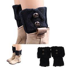 Pooqdo(TM) Women Winter Leg Warmer Button Crochet Knit Boot Socks Toppers Cuffs