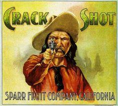 Los Angeles Crack Shot Cowboy Orange Citrus Fruit Crate Box Label Art Print