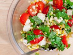 Tomato, Basil ,Mozzarella, and Corn Salad