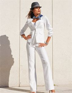 Blazer, pure linen in the colors white, royal - blue - in the MADELEINE online collection