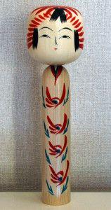 Togatta style kokeshi doll by Ogasawara Nobuko