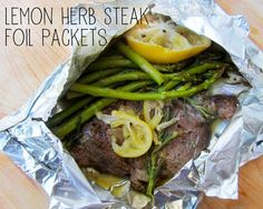 Lemon Herb Steak Foil Packets (use containers to measure out ingredients to what you need)