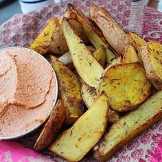 Nirvana potatoes with a raw vegan mayo-ketchup sauce. Marinated the potatoes in herbs, balsamic vinegar, and lemon then roasted. The mayo-ketchup was cashews, sun-dried tomatoes, cherry tomatoes, and paprika. These were for Asa and Asher and they were so