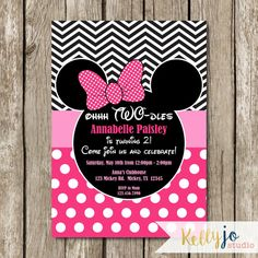 Pink Minnie Mouse Oh Two-dles Birthday Invites  by KellyJoStudio