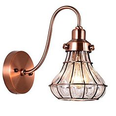Truelite Antique Style Gooseneck Wall Sconce Cracked Glass Shade Wire Wall Lamp - - Amazon.com