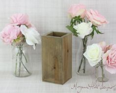 Tall Rustic Planter Box Wedding Centerpiece Vase Shabby Chic Barn Decor Country (Item Number 130085)