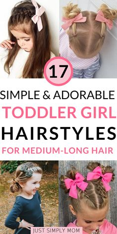 17 Simple and Adorable Toddler Girl Hairstyles for Medium to Long Hair Simple and cute hairstyles for toddler or little girls with medium to long hair. From braids and twists to half up ponies, there's something unique for all Cute Toddler Girl Hairstyles, Easy Little Girl Hairstyles, Easy Hairstyles, Toddler Hair Dos, Hair Kids, Hair Styles For Toddler Girls Curly, Updo Hairstyle, Children Hairstyles Girls, Black Hairstyles