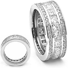 This gorgeous 18K gold diamond eternity rings collection item features 1.15 carats of round cut diamonds and 3.85 carats of princess cut diamonds, each expertly set in a one of a kind contemporary design for a total of 5 carats of diamonds. This princess and round cut diamond eternity ring is available in 18K white gold, yellow gold and rose gold; also available in a platinum diamond eternity band design (please contact us for pricing details).