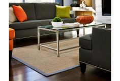 One Kings Lane - Bring Spring In - Minivet Sisal Rug, Gray/Tan: would like to find something similar with a dark blue border.