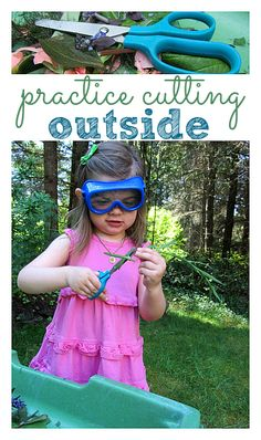 Scissor/ cutting practice is an important pre-writing activity. Take it outside!