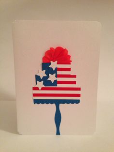 Happy of July - greeting card Happy 4 Of July, 4th Of July, Greeting Cards, Handmade, Hand Made, Independence Day, July 4th, Handarbeit