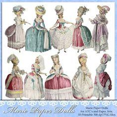 Marie Antoinette Paper Dolls via Etsy