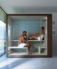 """A home sauna is a luxury for sure — but these 5 compact models make the """"spa aesthetic"""" a reality. In addition to sauna, some even offer integrated showers, steam and mud baths — all in a compact space not much larger than a bathtub. Sauna Design, Gym Design, House Design, Design Ideas, Saunas, Jacuzzi, Sauna A Vapor, Sauna Wellness, Indoor Sauna"""