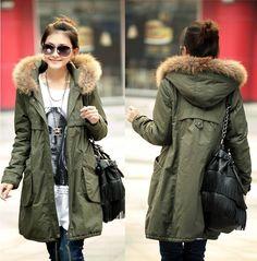 2015 Fashion Ladies Wadded Jacket Coat Outerwear Black Green Khaki Plus Size Thick Warm Cotton-Padded Long Winter Jacket Women