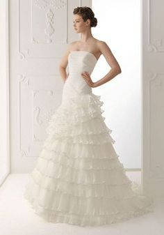 Organza Strapless A line Dropped Floor Length Sleeveless Wedding Dress - Angeldress.co.uk