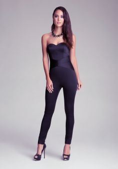 Bebe Sweetheart Belt Jumpsuit in Black | Lyst