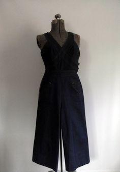 Vintage Denim Halter Jumpsuit Overalls Romper by rileybella123, $36.00