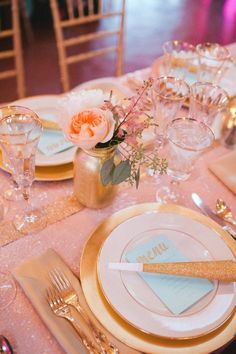 gold mint pink dinner party