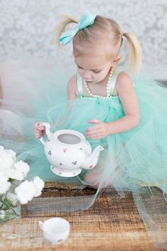 Girls Tea Party, Princess Tea Party, Little Princess, Tea Parties, Tulle Flower Girl, Flower Girl Dresses, Turquoise Cottage, Tiffany Blue Box, Never Grow Up