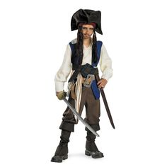 Deluxe Captain Jack Sparrow Shirt with attached vest, sash, two belts with attached buckles, pants, pair of boot covers, bandana with attached hair and hat. (toy weapon not included)