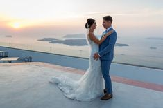 Revisiting the location where they got engaged to tie the knot, there was no better place for Nicole Harrod and Jake Green to get married but the Greek island of Santorini. Click the link to view the full wedding album! Wedding Abroad, Wedding Tips, Destination Wedding, Island Wedding Dresses, Island Weddings, Santorini Wedding, Sunset Wedding, Getting Engaged, Wedding Album