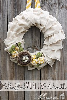 ruffled muslin spring wreath, crafts, seasonal holiday d cor, My Ruffled Muslin Wreath