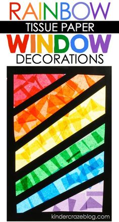 """""""stained glass"""" window decorations made from tissue paper and contact paper"""