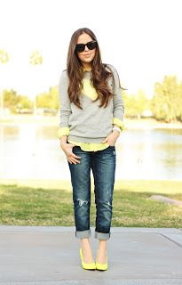 Spring Fashion: Yellow & Grey Sweater / Neon Pumps