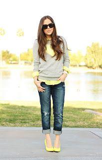 Spring Fashion: Yellow & Grey Sweater / Neon Pumps