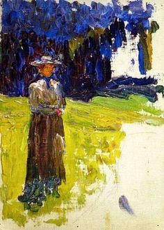 Wassily Kandinsky, Kochel - Lady Standing by the Forest's Edge, 1902 on ArtStack #wassily-kandinsky-vasilii-vasil-ievich-kandinskii #art