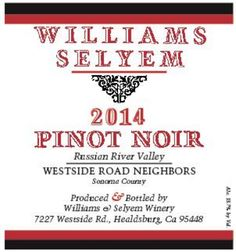 2014 Williams Selyem Pinot Noir Westside Road Neighbors