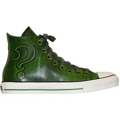 Converse DC Heroes Leather Hi Top - Arkham Asylum - Riddler - Green found on Polyvore
