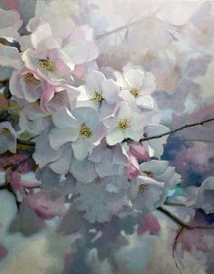 Cherry Light - a delicate oil painting by German born US artist Michael Godfrey. Oil Painting Flowers, Watercolour Painting, Watercolor Flowers, Watercolors, Gauche Painting, Art Floral, Botanical Art, Flower Art, Beautiful Flowers