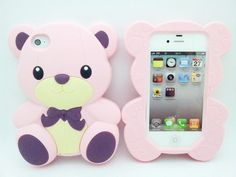 1x Girl 3D Cute BOW Teddy Bear Doll Rubber Soft Case+Film For iPhone 4G 4S BSC04