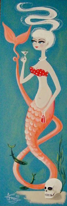 mermaid with martini, by El Gato Gomez
